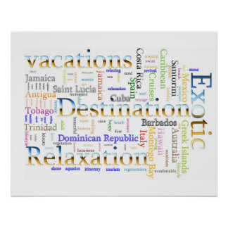 Word cloud  Vacation and Relaxation Text Print
