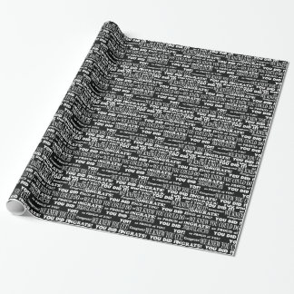 Word Collage Black and White graduation Wrapping Paper