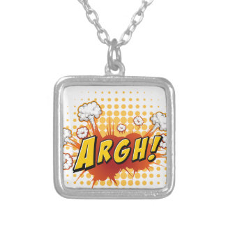 Word expression square pendant necklace