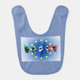 Word Italy over the European Union flag Bib