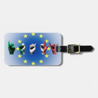 Word Italy over the European Union flag Luggage Tag