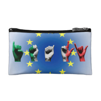 Word Italy over the European Union flag Makeup Bag