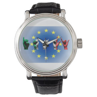 Word Italy over the European Union flag Watch