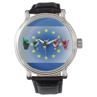 Word Italy over the European Union flag Wristwatch
