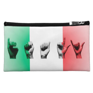 Word Italy over the italian flag Makeup Bags