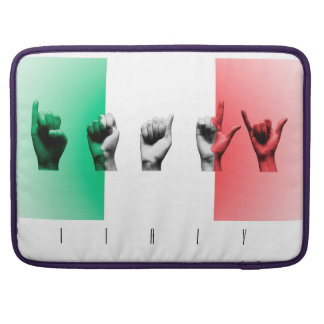 Word Italy over the italian flag Sleeve For MacBook Pro