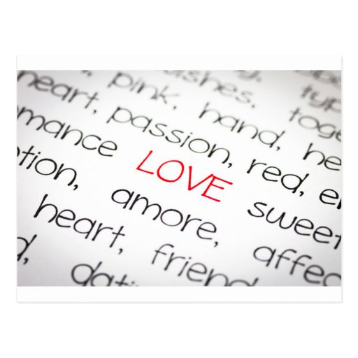 Word love above all post cards