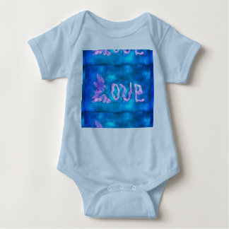 word love blue background baby bodysuit