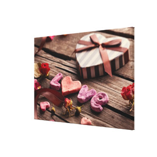 Word Love with Heart Shaped Valentine's Day Gift Canvas Print