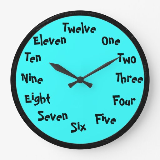Word numbers Wall Clock Zazzle