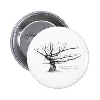 Word Of God Forever: Gnarled Tree in Pencil 6 Cm Round Badge
