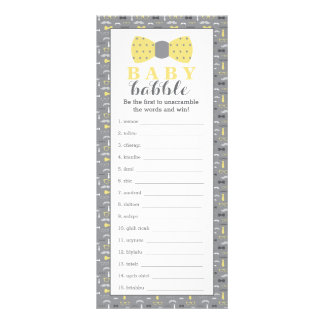 Word Scramble Game, Baby Shower Game, Little Man Customised Rack Card