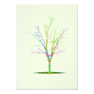 Word Tree Invitation, Dream Laugh Love Live 13 Cm X 18 Cm Invitation Card