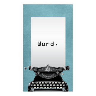 """Word."" Vintage Typewriter Turquoise Writer Business Card Templates"
