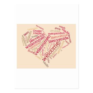 wordcloud welcome heart postcard