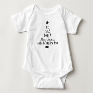 Words Arranged in the Shape of a Christmas Tree Baby Bodysuit