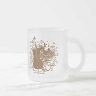 Words Fail Music Speaks Cello Musician Frosted Glass Coffee Mug