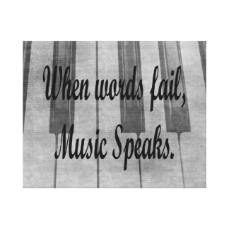 words fail piano music design gallery wrap canvas