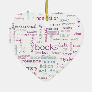 Words for Books Ceramic Heart Decoration