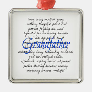 Words for Grandfather Silver-Colored Square Decoration