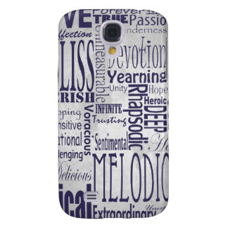Words for Love Silver and Navy iPhone Case Samsung Galaxy S4 Cover