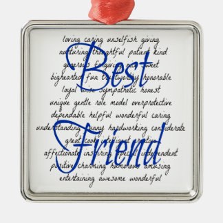 Words for Male Best Friend Silver-Colored Square Decoration