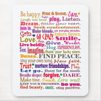 words in red square mouse mat
