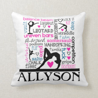 Words of Gymnastics Terminology w/ Monogram Cushion
