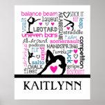 Words of Gymnastics Terminology w/ Monogram Poster