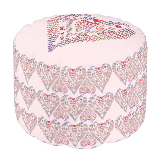 Words of Heart Poufs Round Pouf