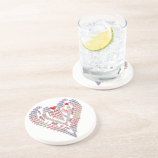 Words of Heart Sandstone Drink Coaster
