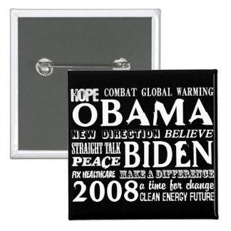 Words of Hope Obama & Biden 2008 Button 2