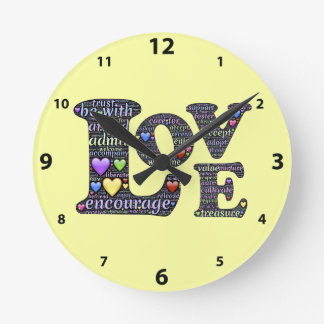 Words of Love Round (Medium) Wall Clock