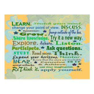 words of wisdom collage postcard