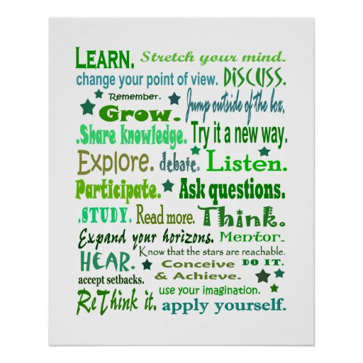 Words of wisdom poster. Learning collage print. Poster