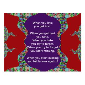 Words Text: FALLING in Love n RISING in Love Postcard