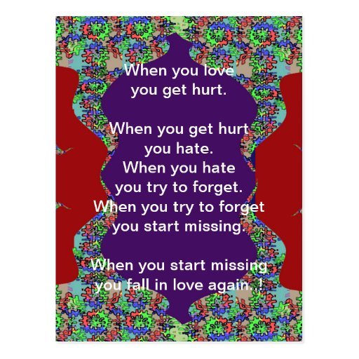 Words Text: FALLING in Love n RISING in Love Post Card