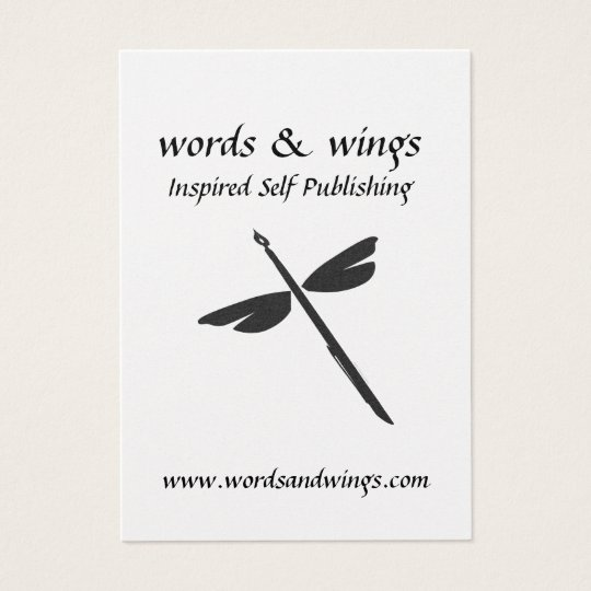 Words & Wings Abstract Dragonfly and Pen Business  Business Card