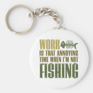 Work And Fishing Basic Round Button Key Ring