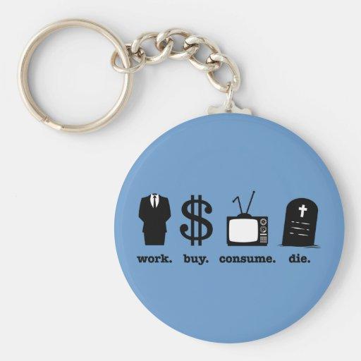 work buy consume die key chains