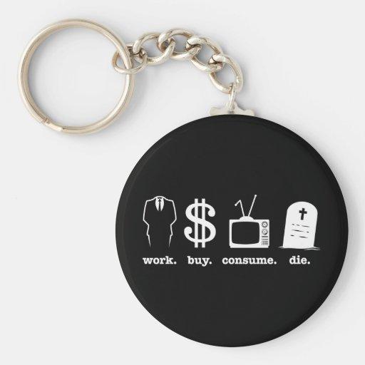 work buy consume die key chain