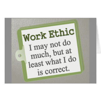 Work Ethic  Note Card