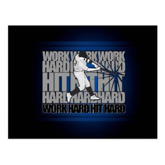 Work Hard Hit Hard - Baseball Postcard