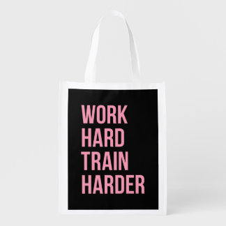 Work Hard Train Fitness Motivational Quote Pink Bl Reusable Grocery Bag