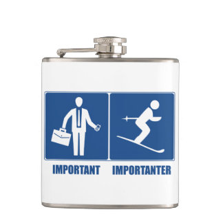 Work Is Important, Skiing Is Importanter Hip Flask