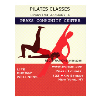 Work It Out! Pilates Yoga Exercise Workout Flyer