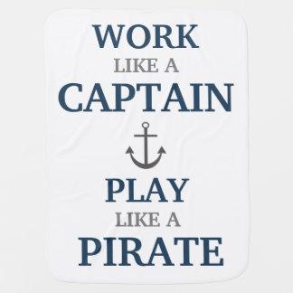 Work Like A Captain Nautical Nursery Baby Blanket