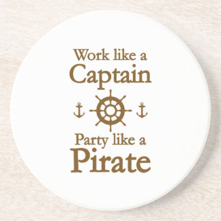 Work Like A Captain Party Like A Pirate Beverage Coasters