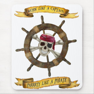 Work Like a Captain Party Like a Pirate Mouse Mat