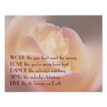 Work Love Dance Soft Rose Inspirational Quote Posters
